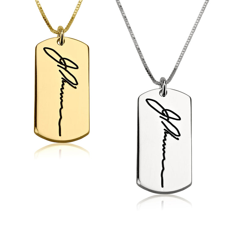 Dog Tag Handwriting Necklace