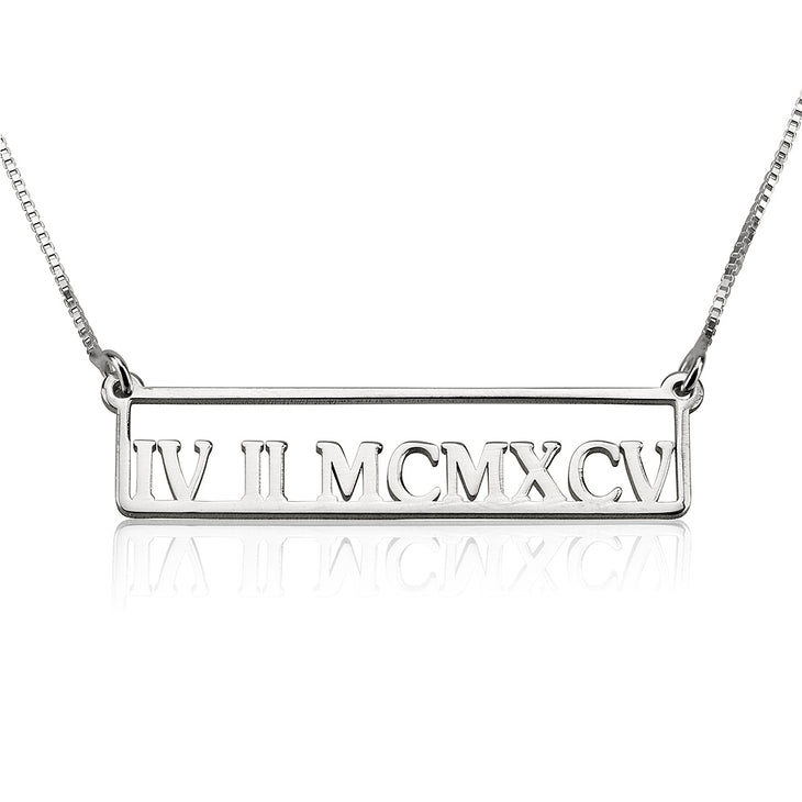 Personalized Roman Numeral Necklace