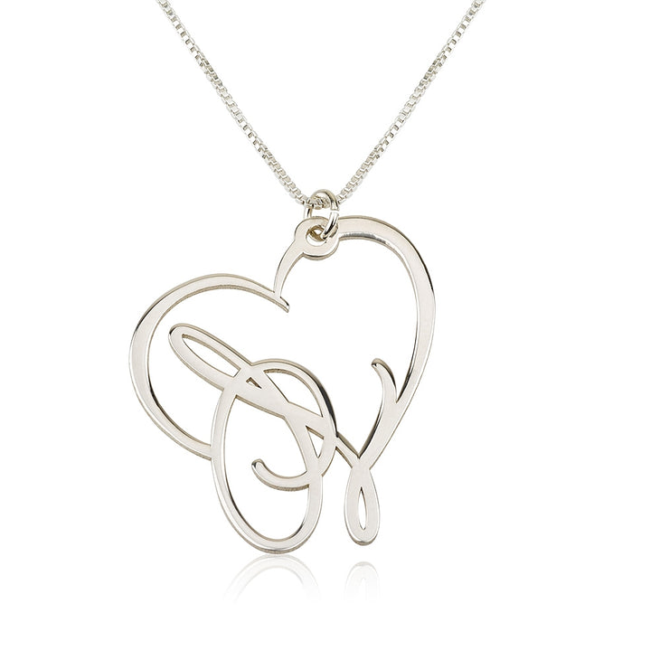 Script Initial Heart Necklace