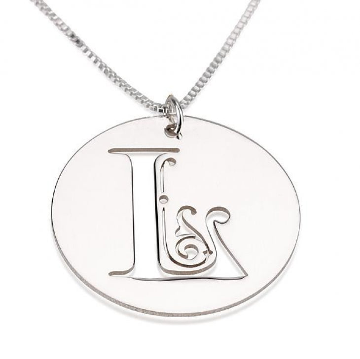 Script Initial Disc Necklace