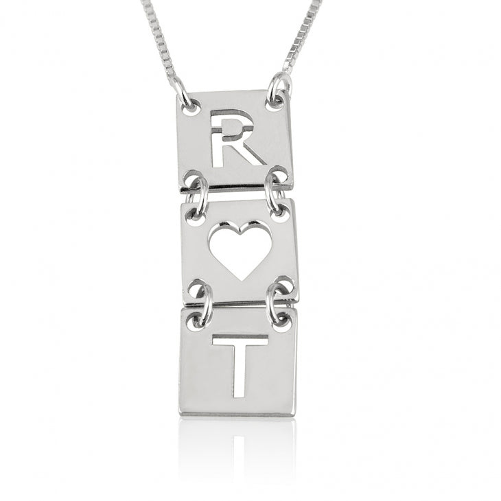 Stacked Cut Out Initials Necklace
