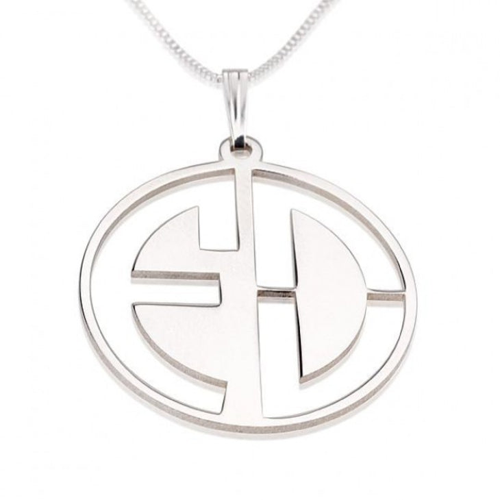 Block Letters Cut Out Monogram Necklace