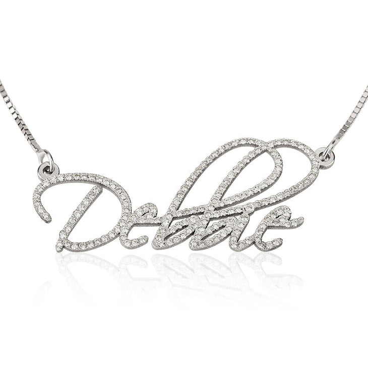 Name Necklace Gold with Diamond