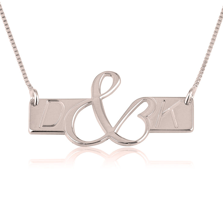 Initials Love Bar Necklace