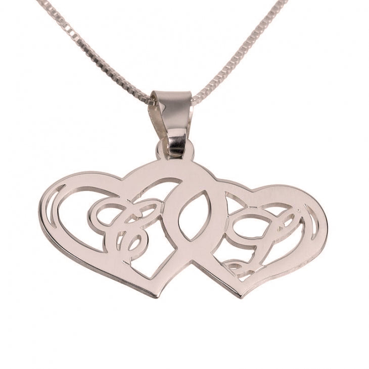 Initials Necklace With Two Hearts