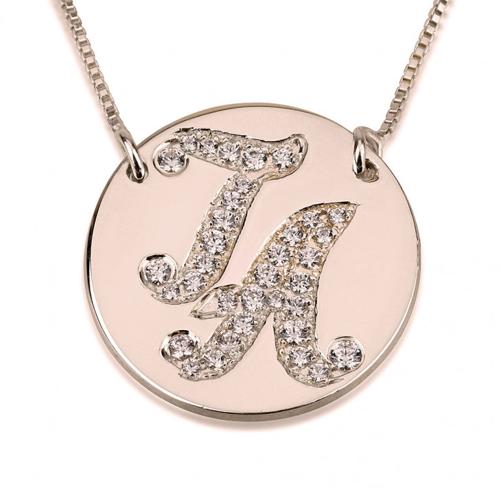 Initial Disc Necklace with Cubic Zirconia
