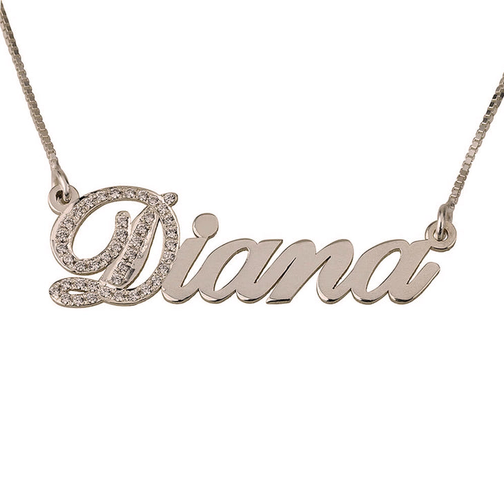 Cubic Zirconia initial Name Necklace