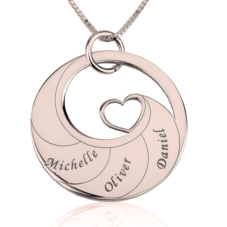 Mother's Heart Necklace With Engraved Names