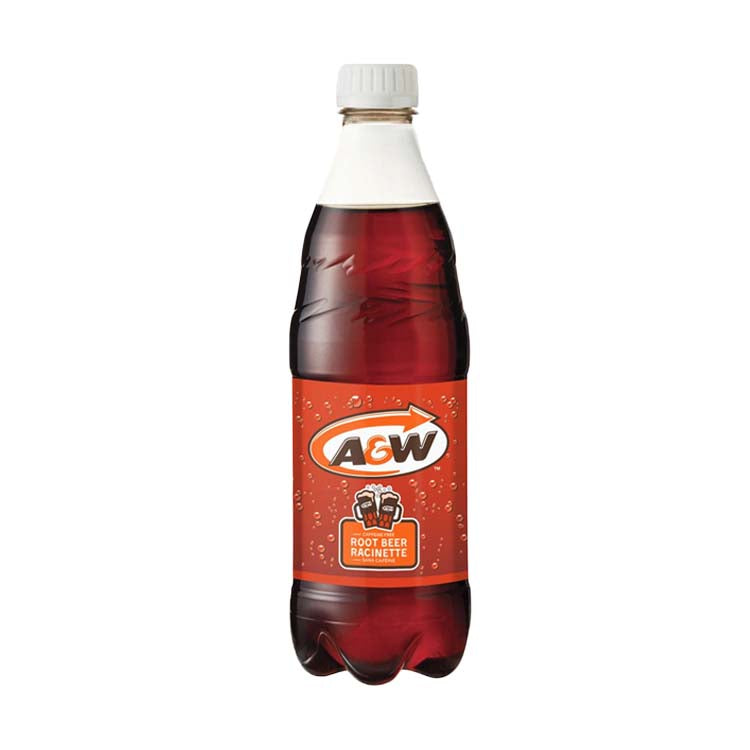 A&W Root Beer Soda Pop 500mL/16.9 oz Bottle
