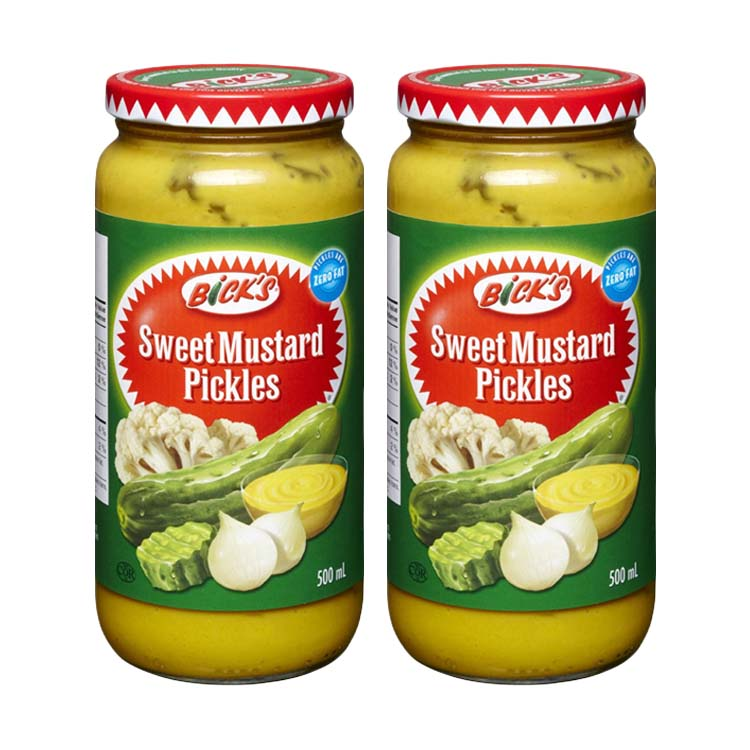 Bick's Sweet Mustard Pickles 375mL/16.9oz Two Glass Jars