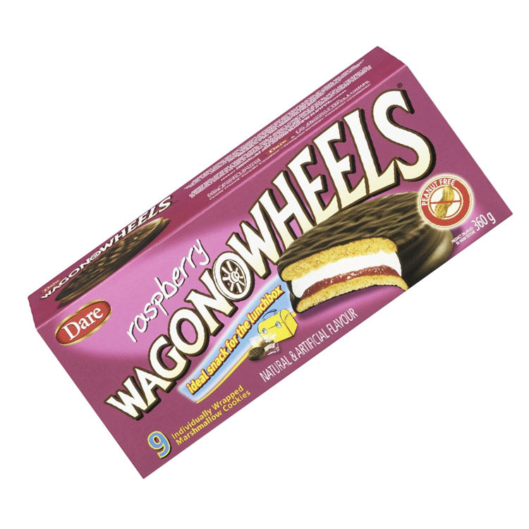 Dare Raspberry Wagon Wheels Marshmallow Cookie Sandwich 360g/12.7oz Box