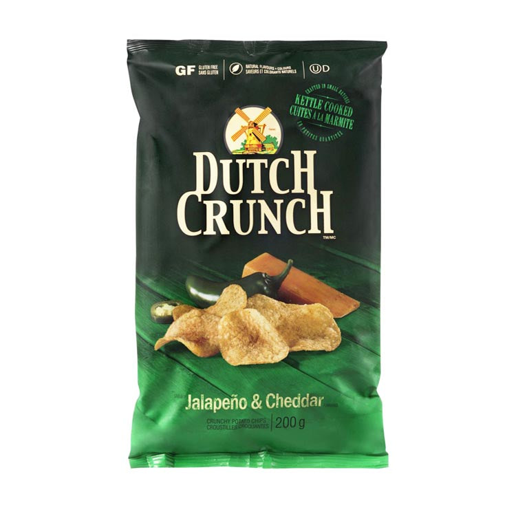 Old Dutch Crunch Jalapeno & Cheddar Kettle Cooked Chips 200g/7.1oz Bag