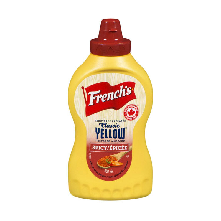 French's Spicy Classic Yellow Mustard Condiment 400ml/13.5oz Bottle