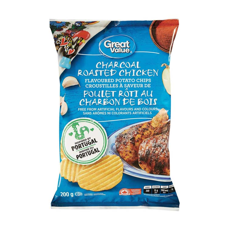 Great Value Charcoal Roasted Chicken Rippled Potato Chips 200g/7oz Bag