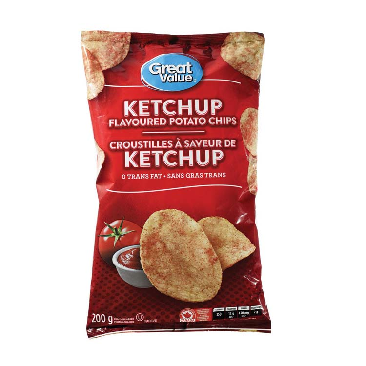 Great Value Ketchup Potato Chips 200g/7oz Bag