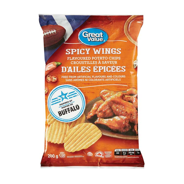 Great Value Spicy Wings Rippled Potato Chips 200g/7oz Bag