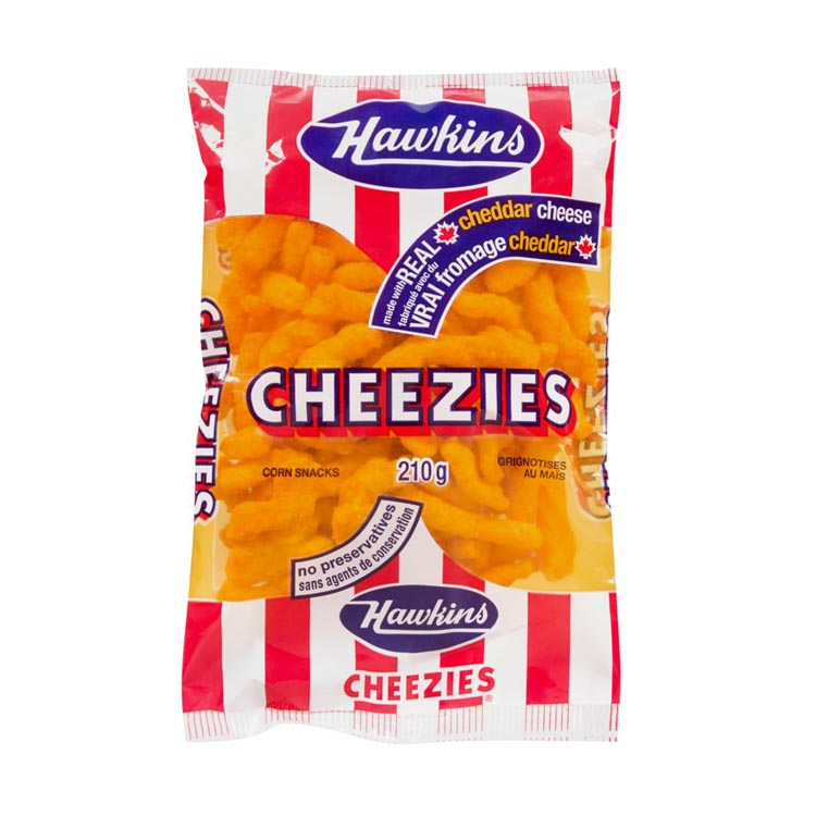 Hawkins Cheezies Cheddar Cheese Corn Snacks 210g/7.4oz Bag
