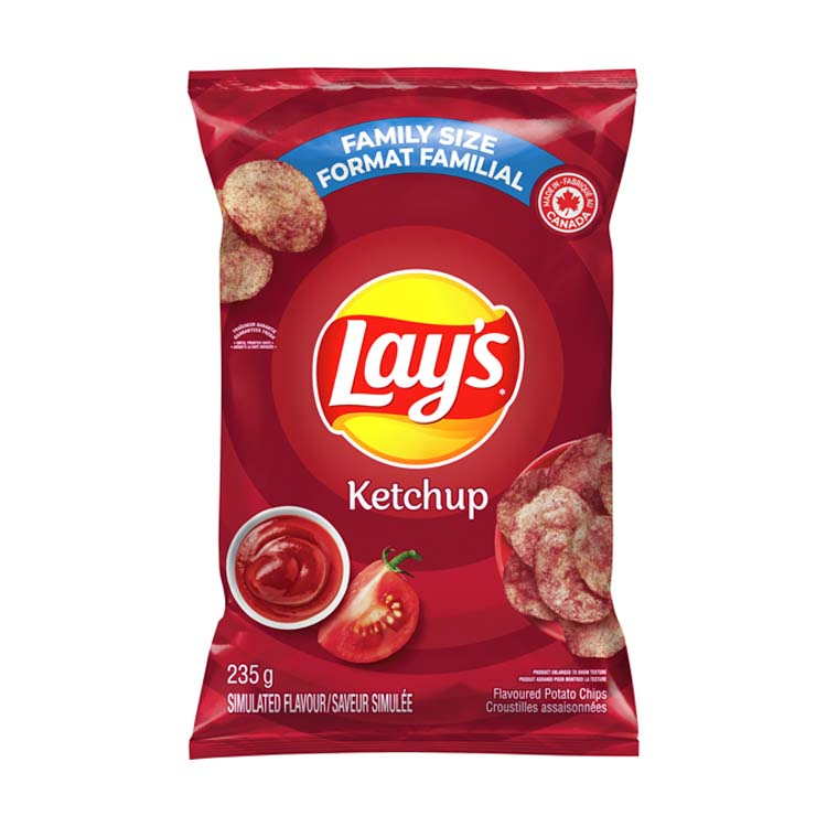 Lays Ketchup 235g/8.2oz Family Pack Bag Potato Chips