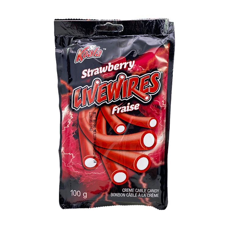 Koala Livewires Strawberry Cream Cables Candy 100g/3.5oz Packet