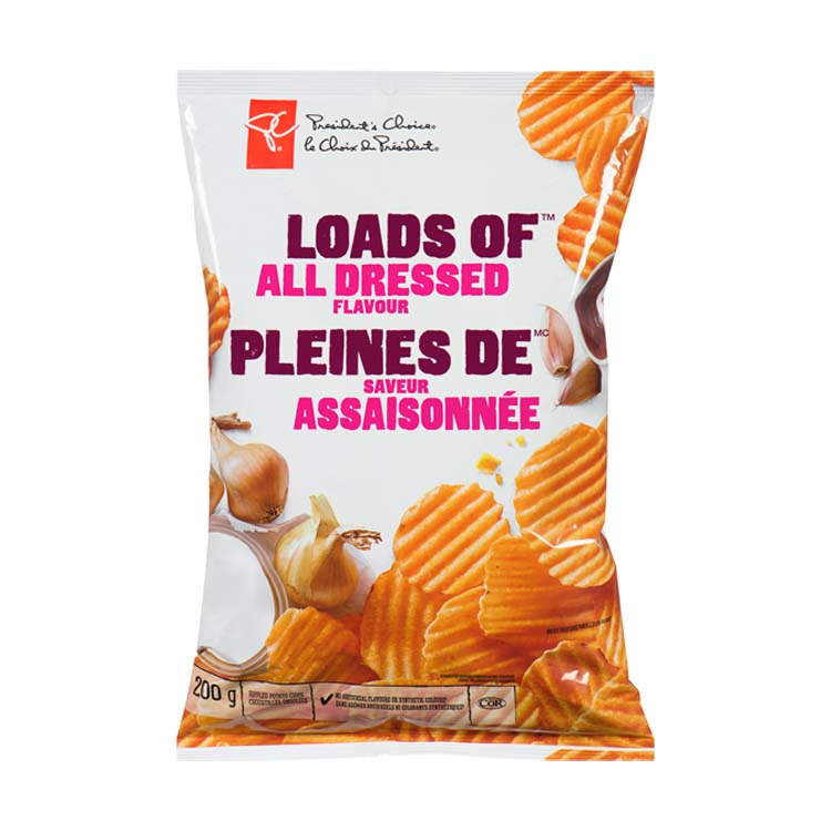 Presidents Choice Loads Of All Dressed Potato Chips 200g/7.1oz