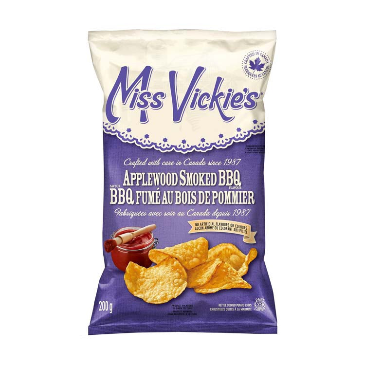 Miss Vickies Applewood Smoked BBQ Kettle Cooked Chips 200g/7oz Bag