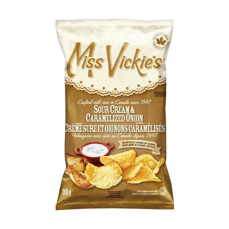 Miss Vickies Sour Cream & Caramelized Onions Chips 200g/7oz Bag