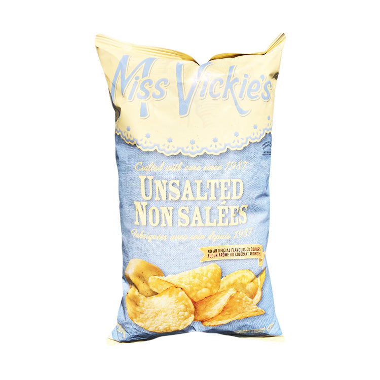 Miss Vickie's Unsalted Kettle Cooked Potato Chips 200g/7oz Bag