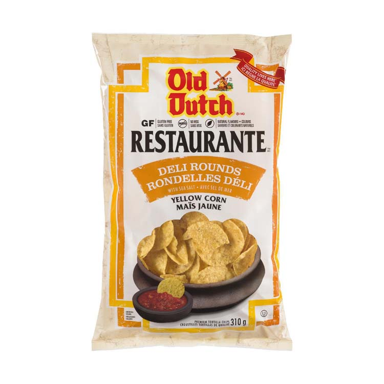 Old Dutch Restaurante Deli Rounds Yellow Corn Chips 310g/10.9 oz Bag