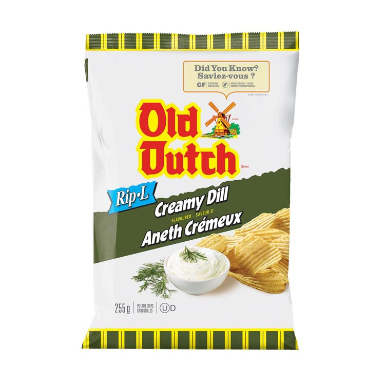 Old Dutch Ripple Creamy Dill Potato Chips 255g/8.9oz Bag