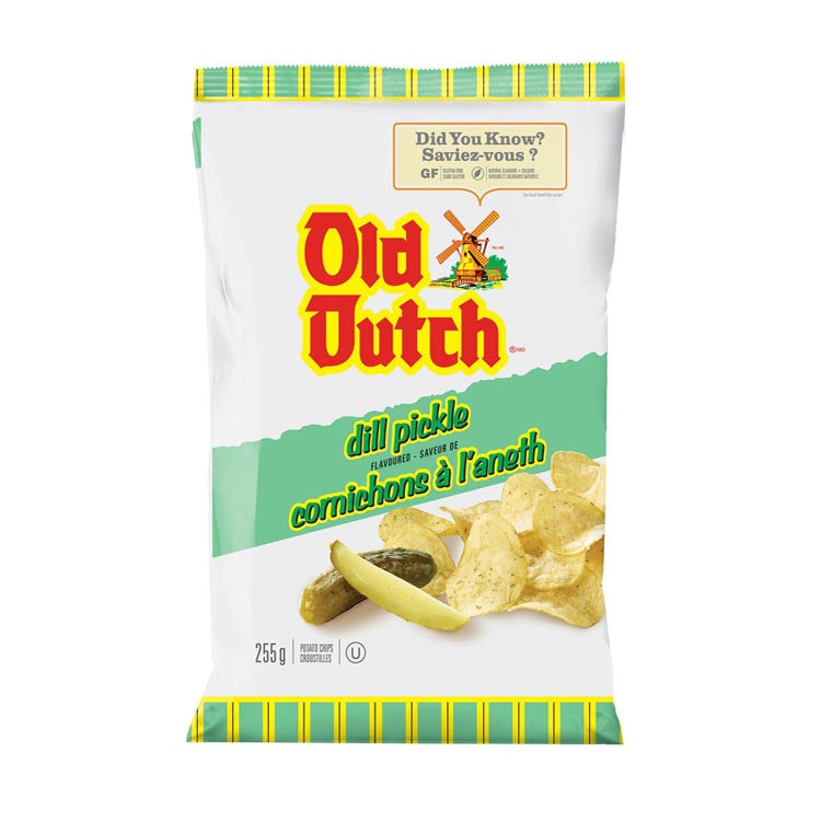 Old Dutch Dill Pickle Potato Chips 255g/8.9oz Bag