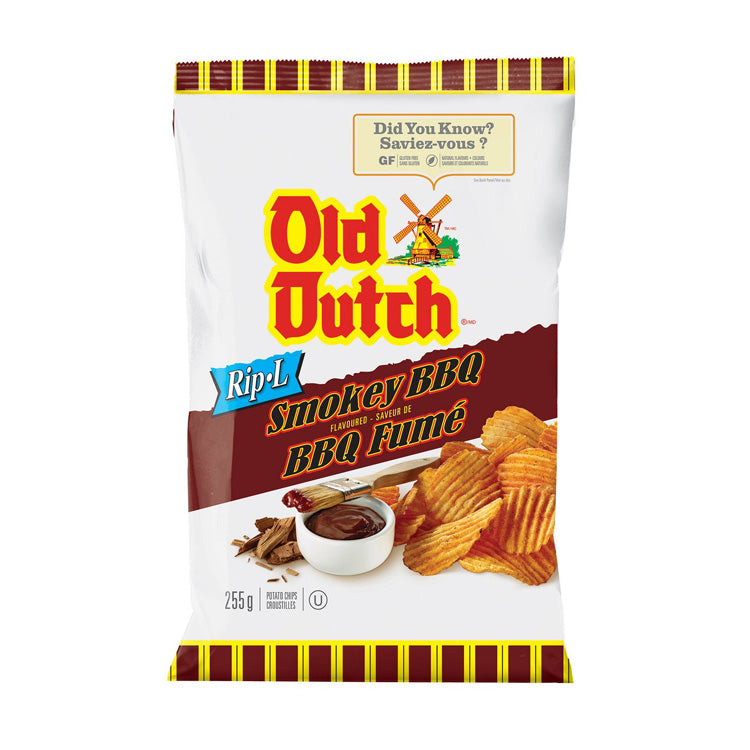 Old Dutch Ripple Smokey BBQ Potato Chips 255g/8.9oz Bag