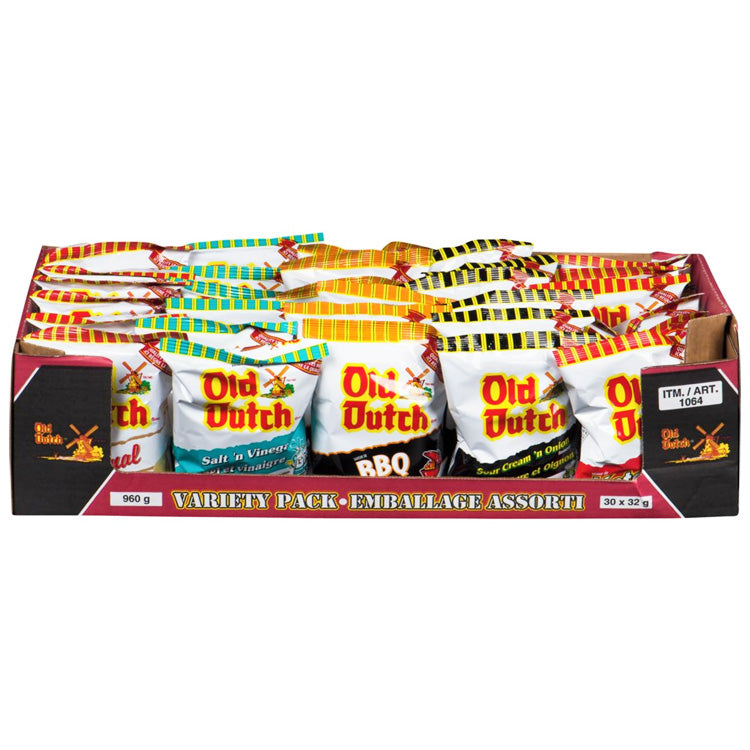 Old Dutch Potato Chips Variety Pack 30 Bags (32g Each)