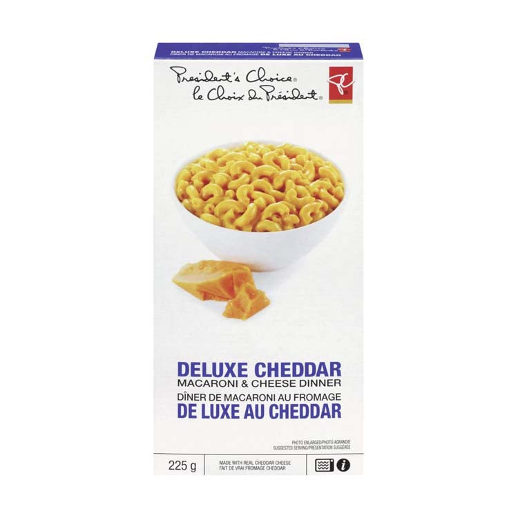 Presidents Choice Deluxe Cheddar Macaroni And Cheese 225g/7.9 oz Box