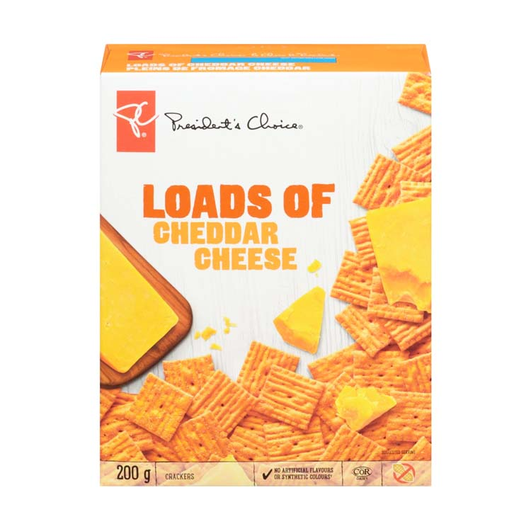 Presidents Choice Loads Of Cheddar Cheese Crackers 200g/7 oz Box
