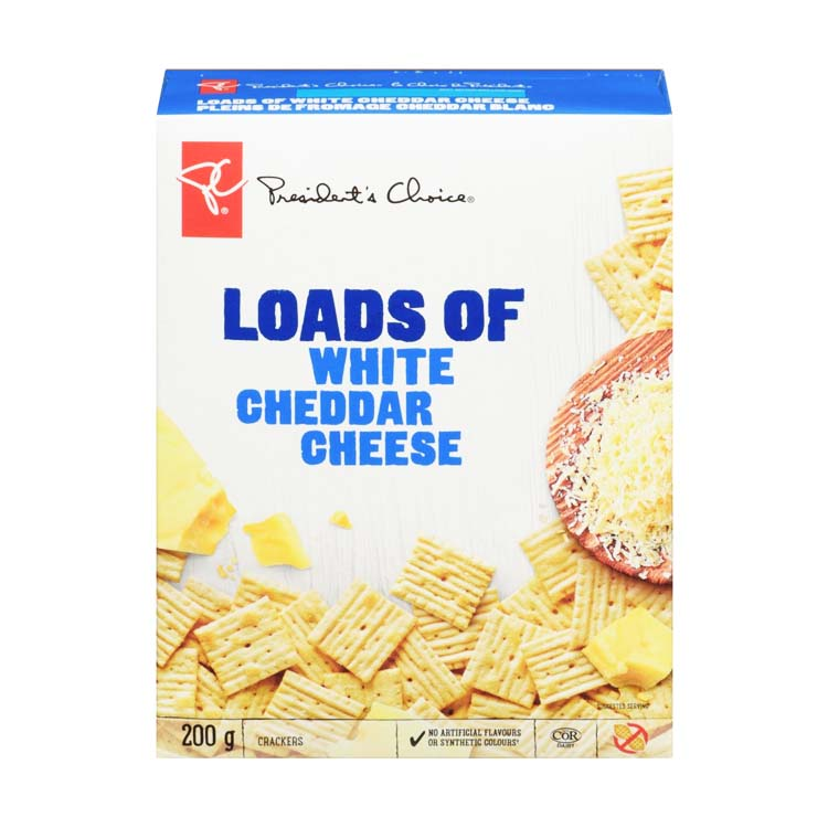 Presidents Choice Loads Of White Cheddar Cheese Crackers 200g/7 oz Box
