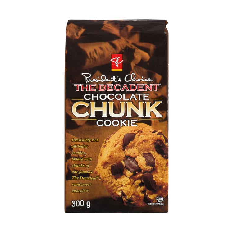 Presidents Choice The Decadent Chocolate Chunk Cookie 300g/10.5oz Package