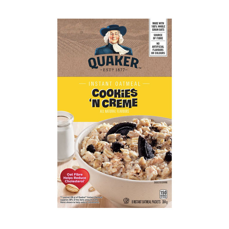 Quaker Cookies And Cream Instant Oatmeal 304g/10.73oz Box