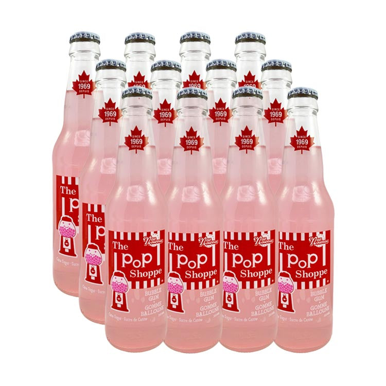 The Pop Shoppe Bubble Gum Soda 355mL/12oz Bottle