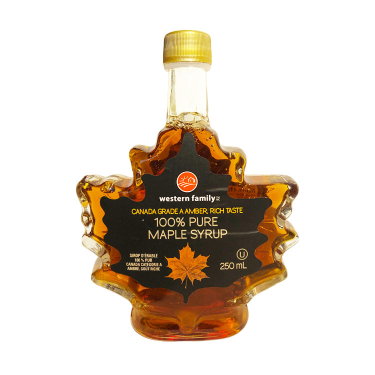 Western Family Grade A Amber 100% Canadian Maple Syrup 250ml/8.4oz Glass Bottle