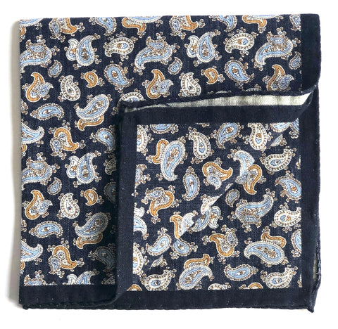 Pocket Square - Blue Printed Paisley