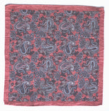 Pocket Square - Red Printed Paisley