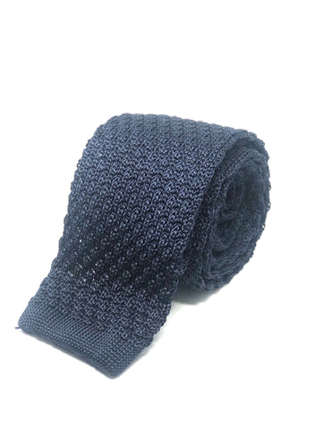 Silk Knitted Tie Navy