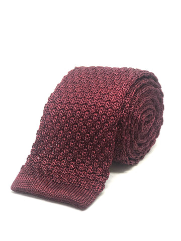 Silk Knitted Tie Wine