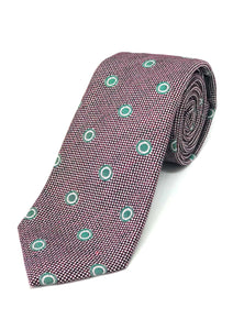 Textured Tie - Wine with Green Circles