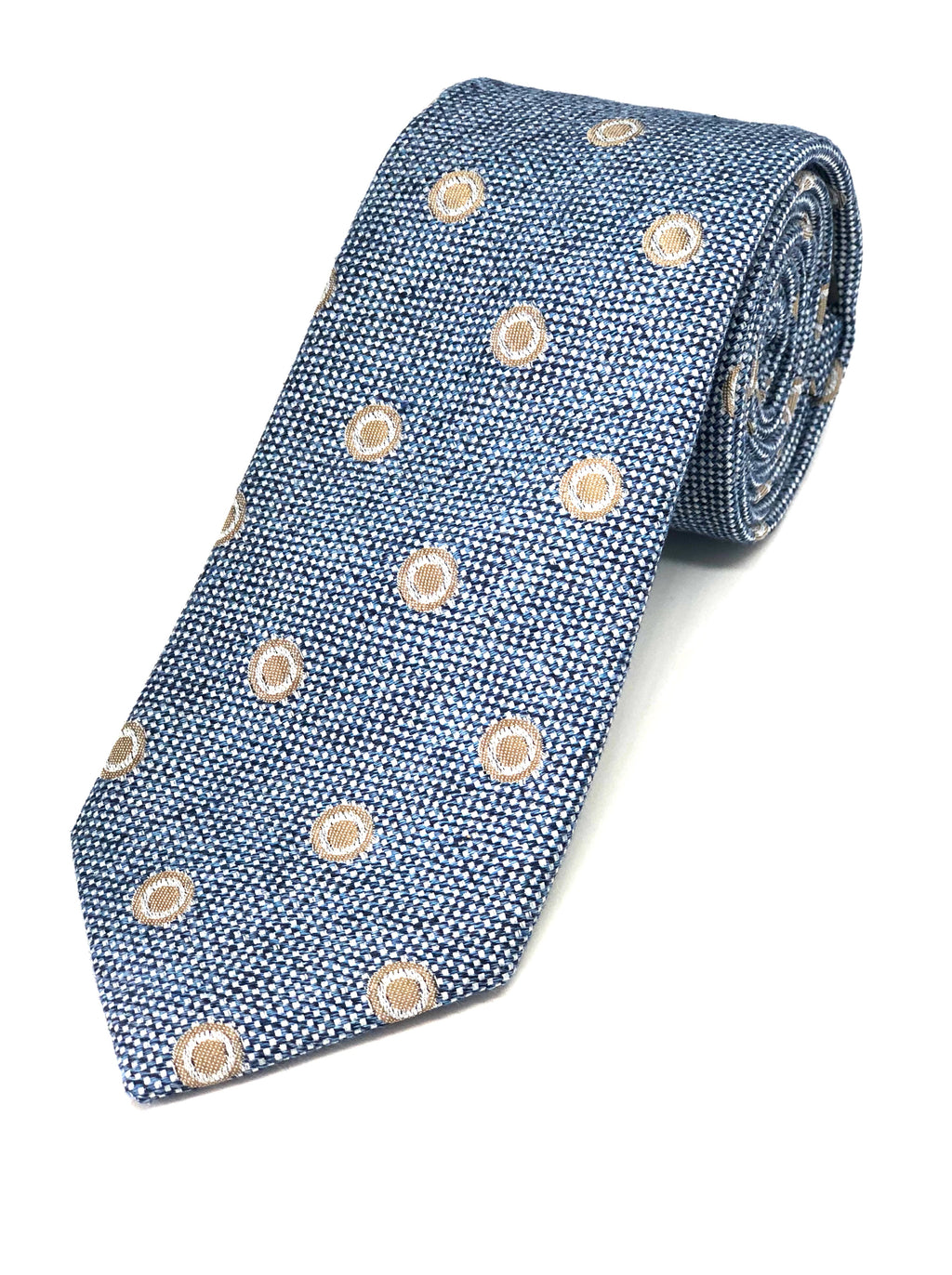 Textured Tie - Blue with Biscuit Circles