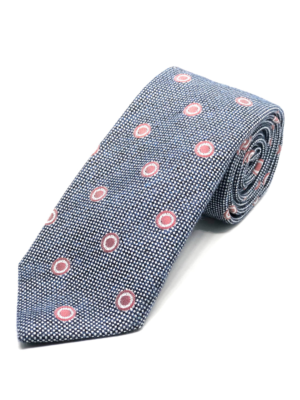 Textured Tie - Navy with Red Circles