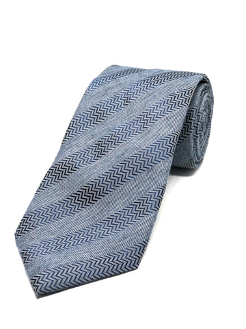 Herringbone Striped Tie - Navy