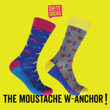 Funny Socks - Moustache W-Anchor