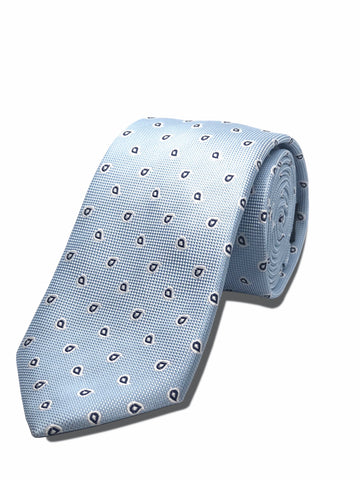 Understated Paisley Tie Sky Blue