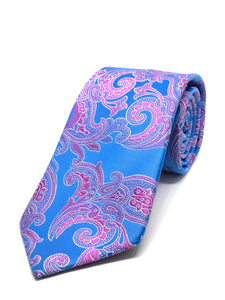 Summer Blue with Pink Paisley Tie